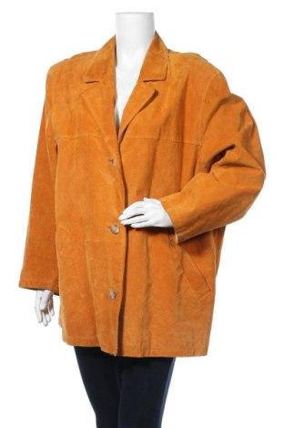 Γυναικείο δερμάτινο μπουφάν, Μέγεθος XXL, Χρώμα Κίτρινο, Φυσικό σουέτ, Τιμή 49,69€