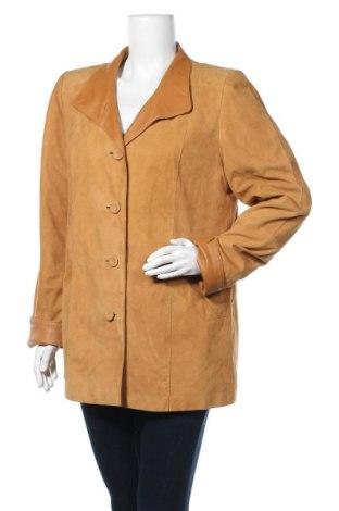 Дамско кожено яке, Размер XL, Цвят Бежов, Естествен велур, Цена 22,58лв.