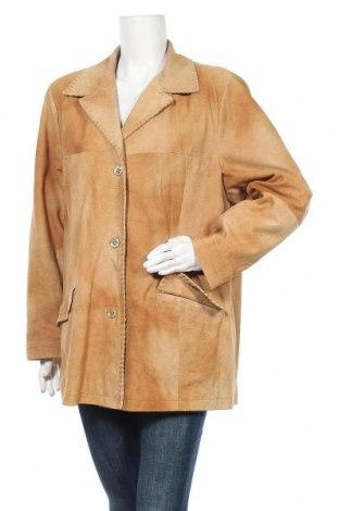 Дамско кожено яке, Размер XXL, Цвят Бежов, Естествена кожа, Цена 29,30лв.