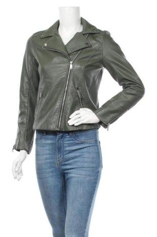 Дамско кожено яке H&M, Размер S, Цвят Зелен, Еко кожа, Цена 37,49лв.