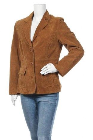 Дамско кожено яке Joy, Размер M, Цвят Бежов, Естествен велур, Цена 66,83лв.