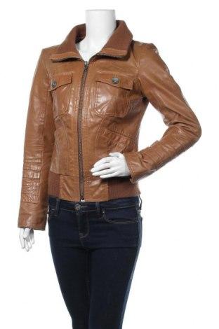 Дамско кожено яке ONLY, Размер M, Цвят Кафяв, Естествена кожа, Цена 74,76лв.