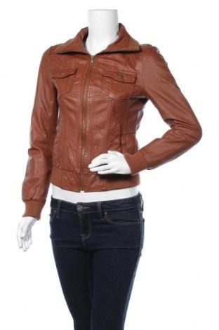Γυναικείο δερμάτινο μπουφάν ONLY, Μέγεθος S, Χρώμα Καφέ, Γνήσιο δέρμα, Τιμή 56,15€