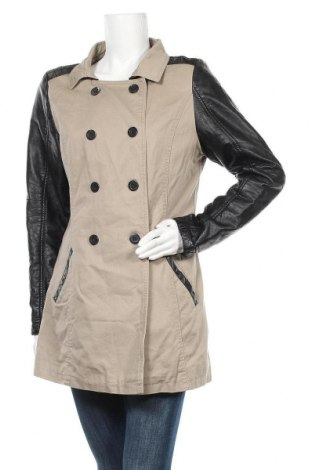 Дамско палто Multiblu, Размер L, Цвят Бежов, Памук, еко кожа, Цена 15,80лв.