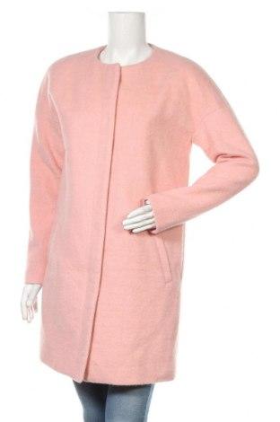Дамско палто Zara, Размер XL, Цвят Розов, 45% вълна, 32% полиестер, 23% вискоза, Цена 47,17лв.