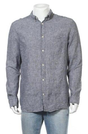 Мъжка риза H&M L.O.G.G., Размер L, Цвят Син, 55% лен, 45% памук, Цена 18,90лв.