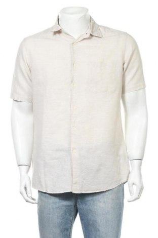 Мъжка риза Uniqlo, Размер L, Цвят Бежов, 54% лен, 46% памук, Цена 15,96лв.