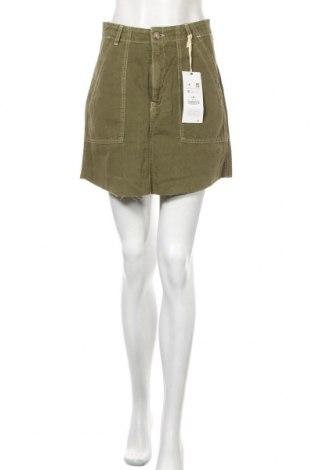 Φούστα Zara, Μέγεθος S, Χρώμα Πράσινο, 70% βαμβάκι, 30% λινό, Τιμή 5,69€