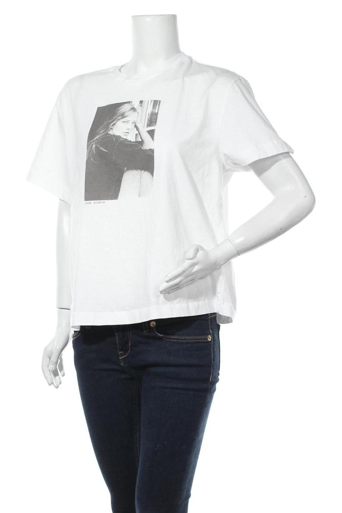 Дамска тениска Massimo Dutti, Размер L, Цвят Бял, Памук, Цена 16,80лв.