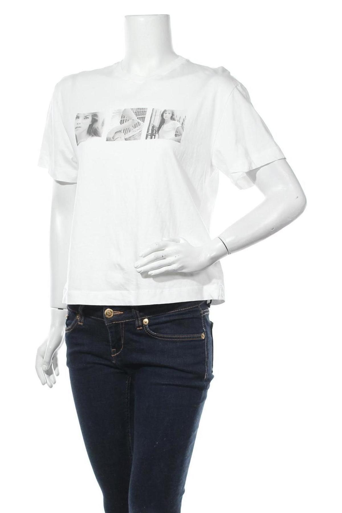 Дамска тениска Massimo Dutti, Размер S, Цвят Бял, 100% памук, Цена 17,82лв.