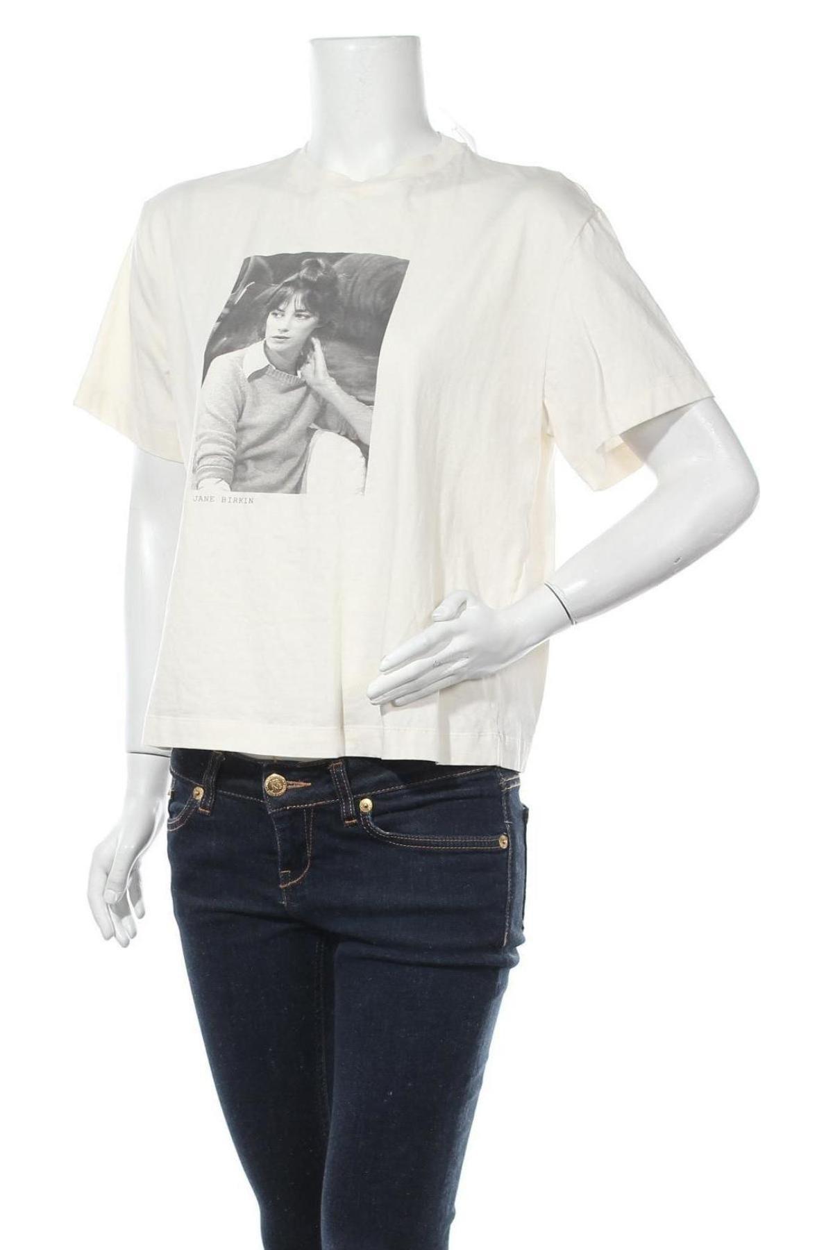 Дамска тениска Massimo Dutti, Размер M, Цвят Екрю, Памук, Цена 18,90лв.