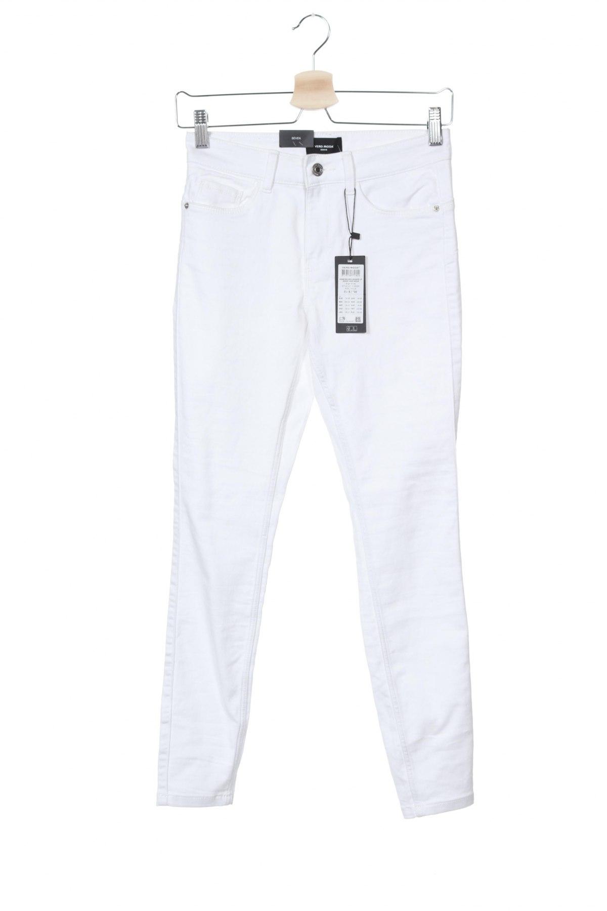 Дамски дънки Vero Moda, Размер S, Цвят Бял, 66% памук, 32% полиестер, 2% еластан, Цена 15,60лв.
