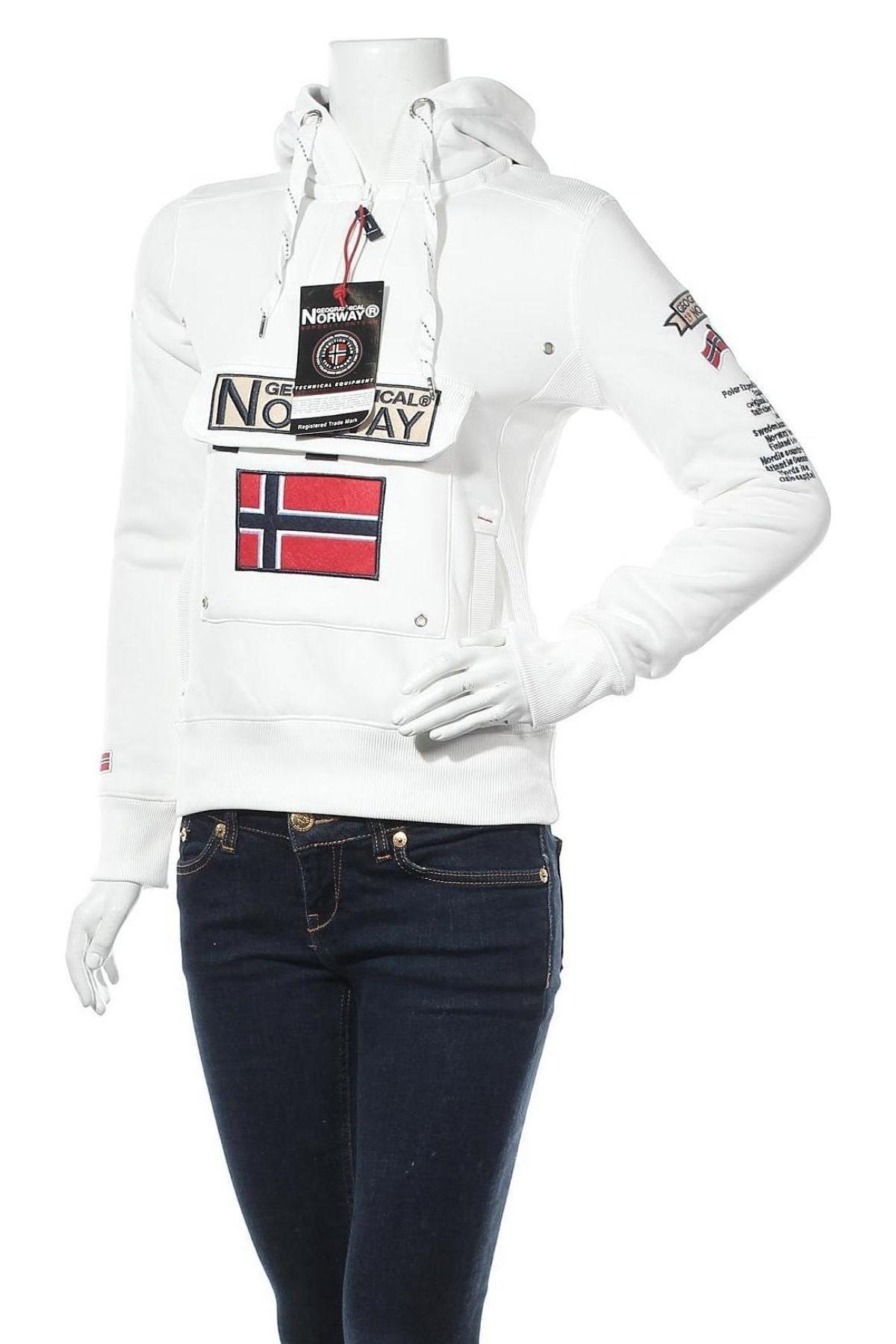 Γυναικείο φούτερ Geographical Norway, Μέγεθος S, Χρώμα Λευκό, 65% βαμβάκι, 35% πολυεστέρας, Τιμή 37,89€