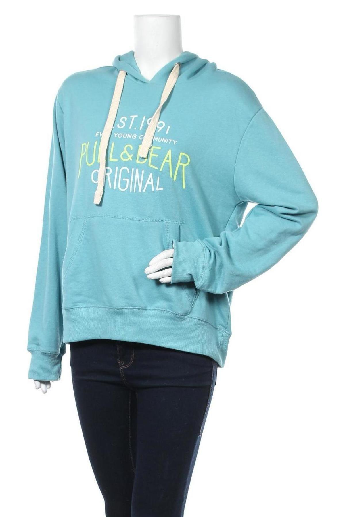 Γυναικείο φούτερ Pull&Bear, Μέγεθος L, Χρώμα Μπλέ, 65% βαμβάκι, 35% πολυεστέρας, Τιμή 15,54€