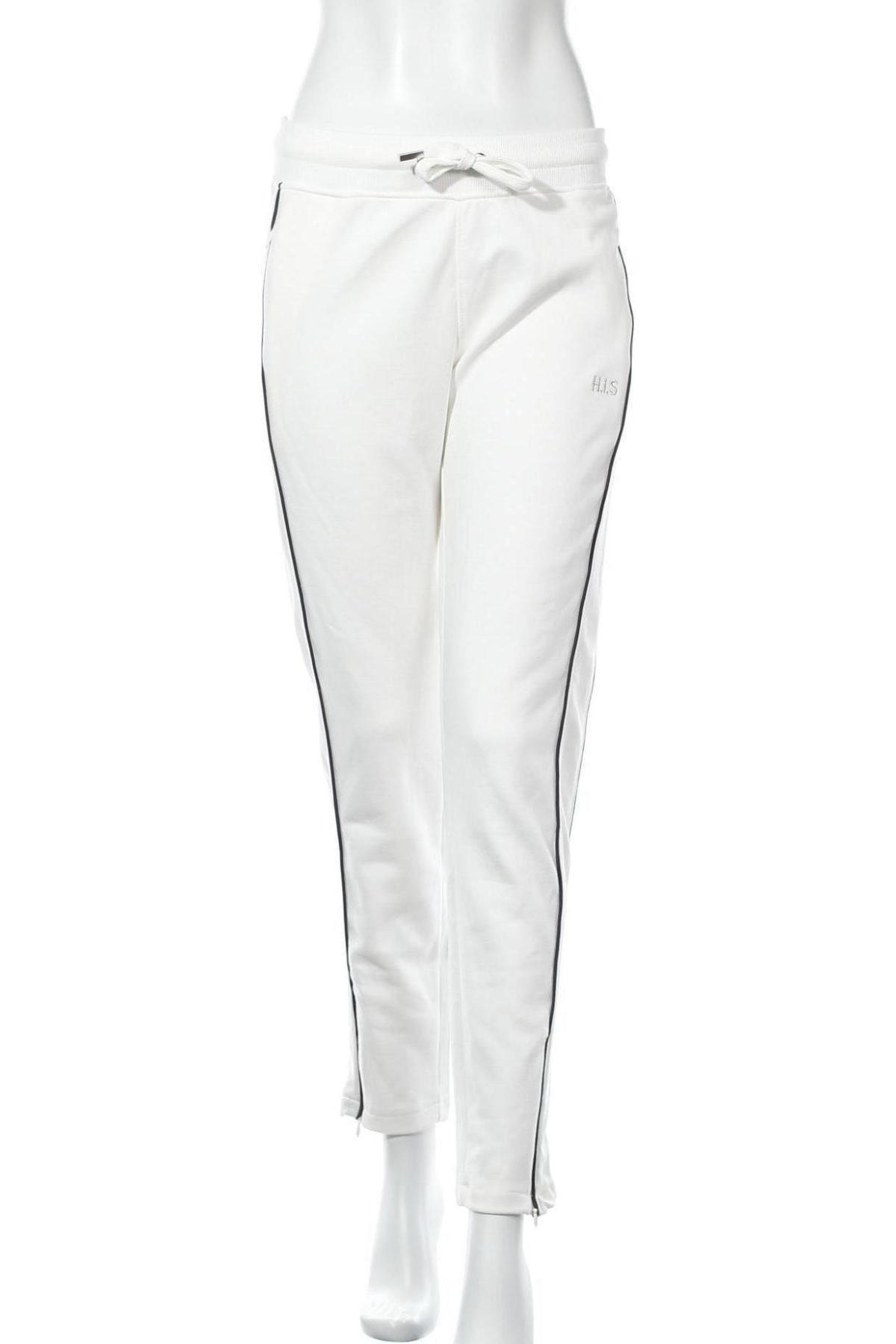 Γυναικείο αθλητικό παντελόνι H.i.s, Μέγεθος S, Χρώμα Λευκό, 60% βαμβάκι, 40% πολυεστέρας, Τιμή 17,64€
