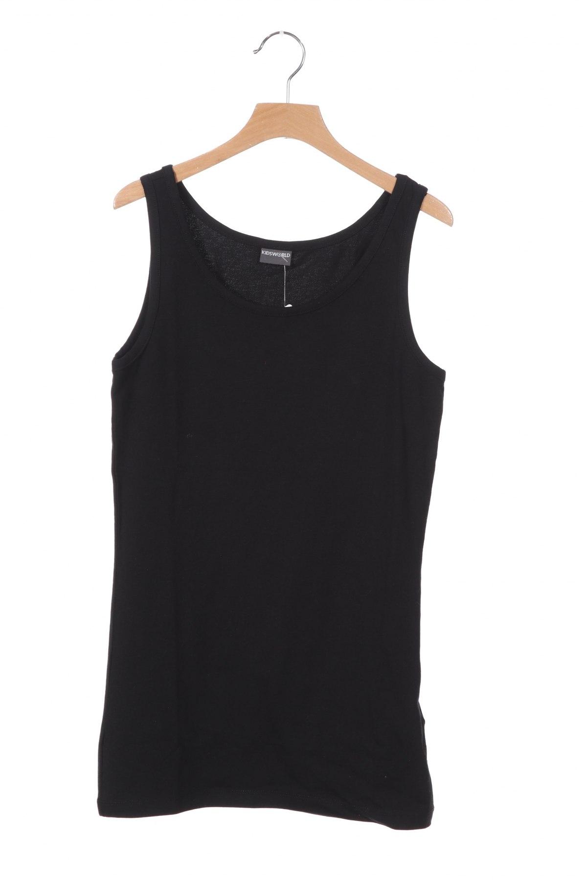 Μπλουζάκι αμάνικο παιδικό, Μέγεθος 14-15y/ 168-170 εκ., Χρώμα Μαύρο, 95% βαμβάκι, 5% ελαστάνη, Τιμή 8,51€