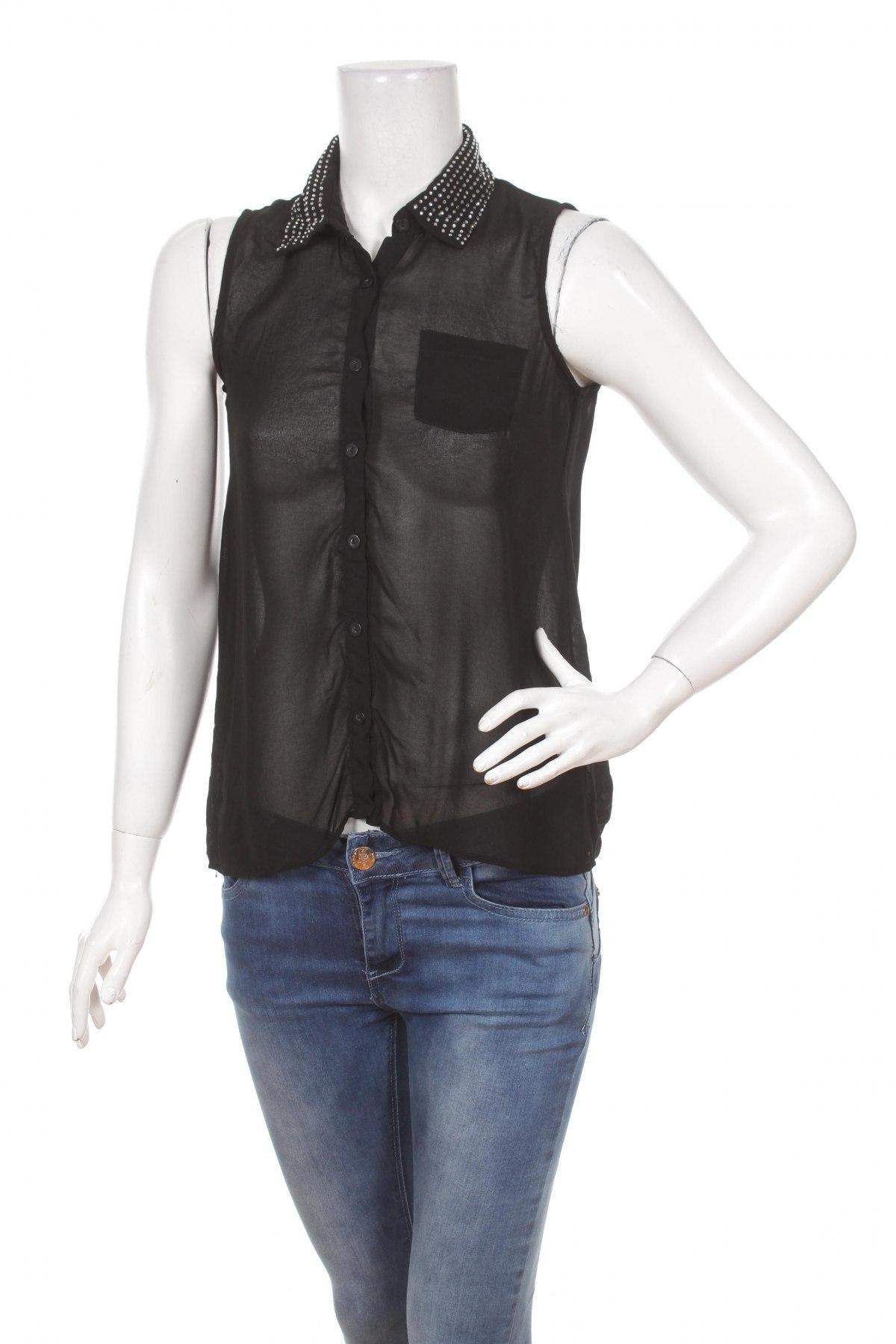Γυναικείο πουκάμισο Monteau, Μέγεθος S, Χρώμα Μαύρο, 78% πολυεστέρας, 18% βισκόζη, 4% ελαστάνη, Τιμή 9,28€
