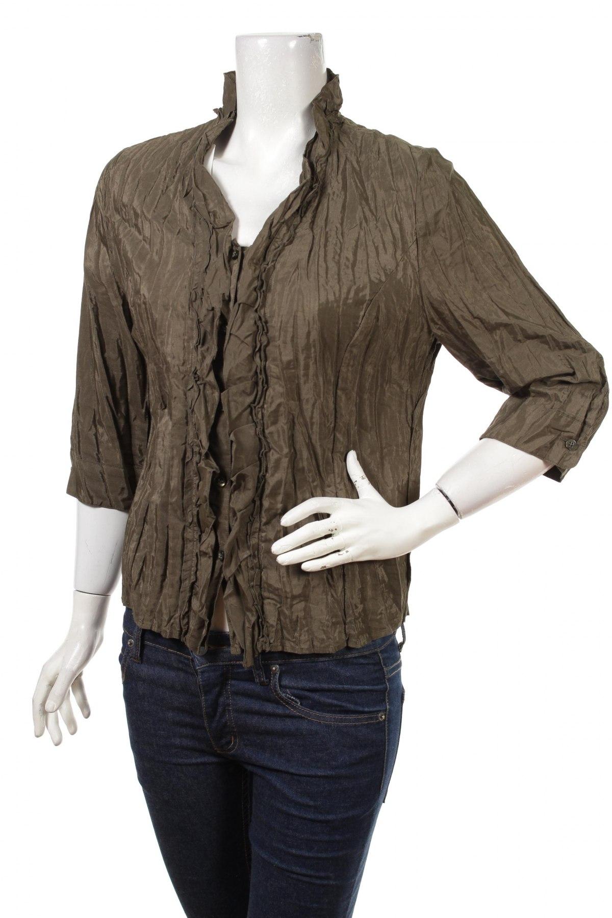 Γυναικείο πουκάμισο, Μέγεθος M, Χρώμα Πράσινο, 51% πολυεστέρας, 49% βαμβάκι, Τιμή 13,61€