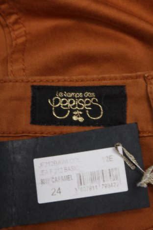 Дамски панталон Le Temps Des Cerises, Размер XS, Цвят Кафяв, 98% памук, 2% еластан, Цена 70,20лв.