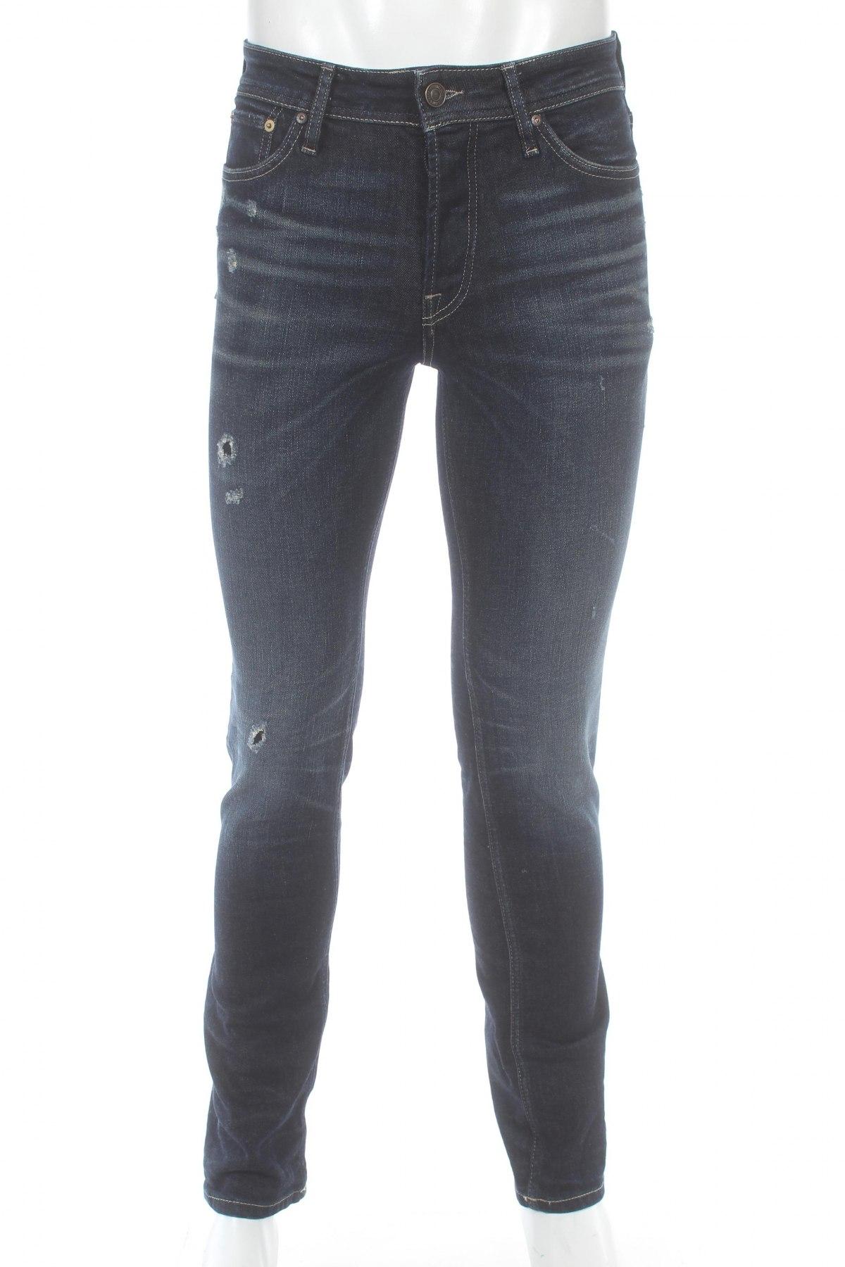 Мъжки дънки Jack & Jones, Размер S, Цвят Син, 99% памук, 1% еластан, Цена 59,80лв.