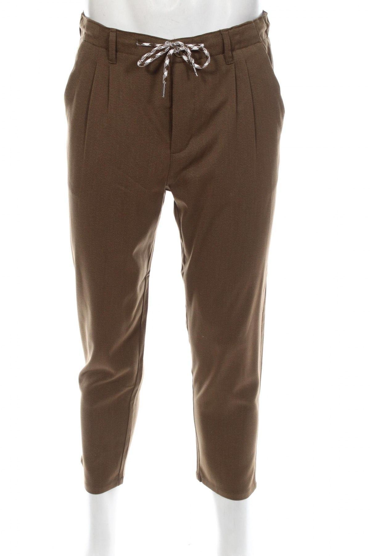 Мъжки панталон Jack & Jones, Размер M, Цвят Кафяв, 71% полиестер, 27% вискоза, 2% еластан, Цена 50,70лв.