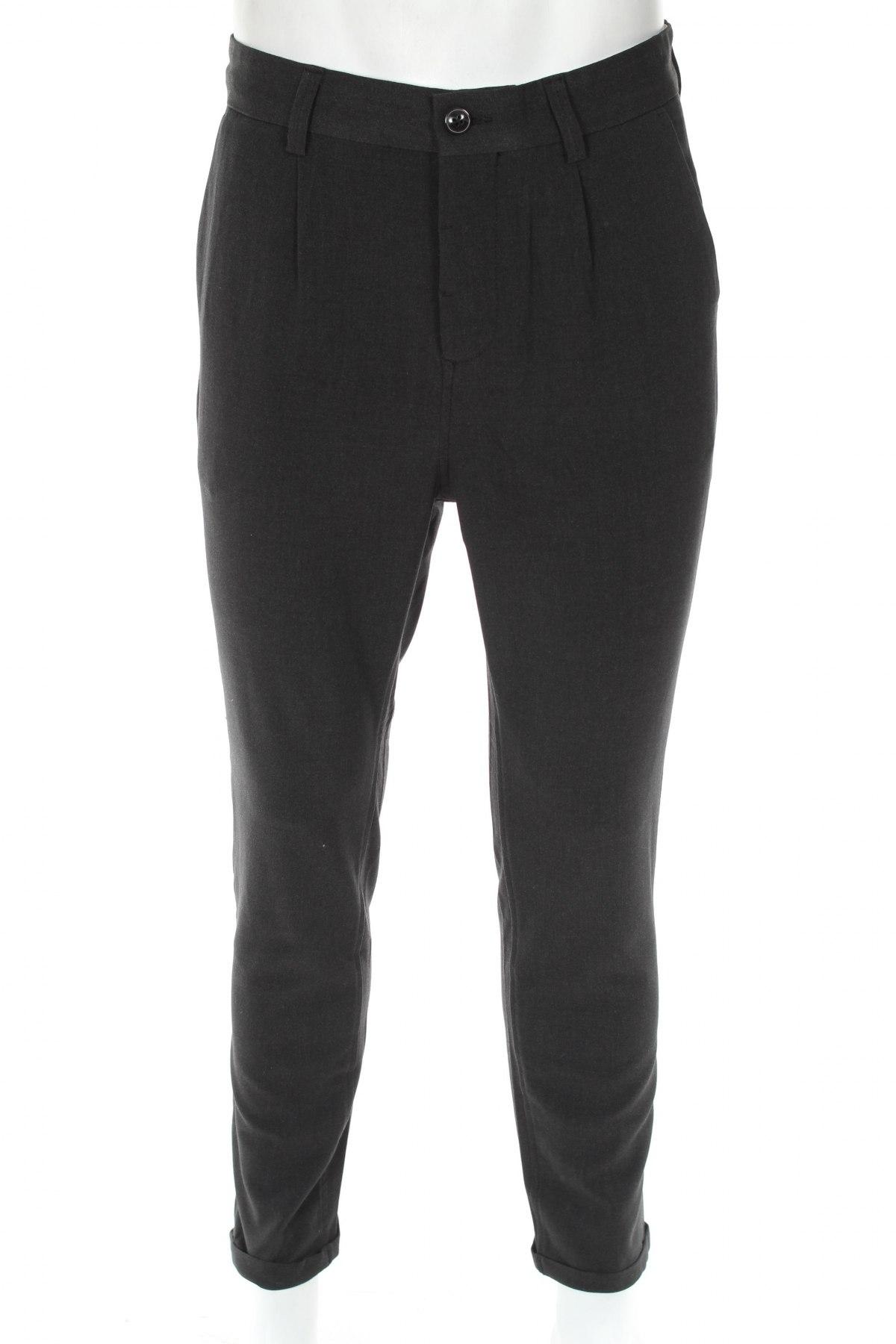 Мъжки панталон Jack & Jones, Размер M, Цвят Сив, 66% полиестер, 32% вискоза, 2% еластан, Цена 49,40лв.