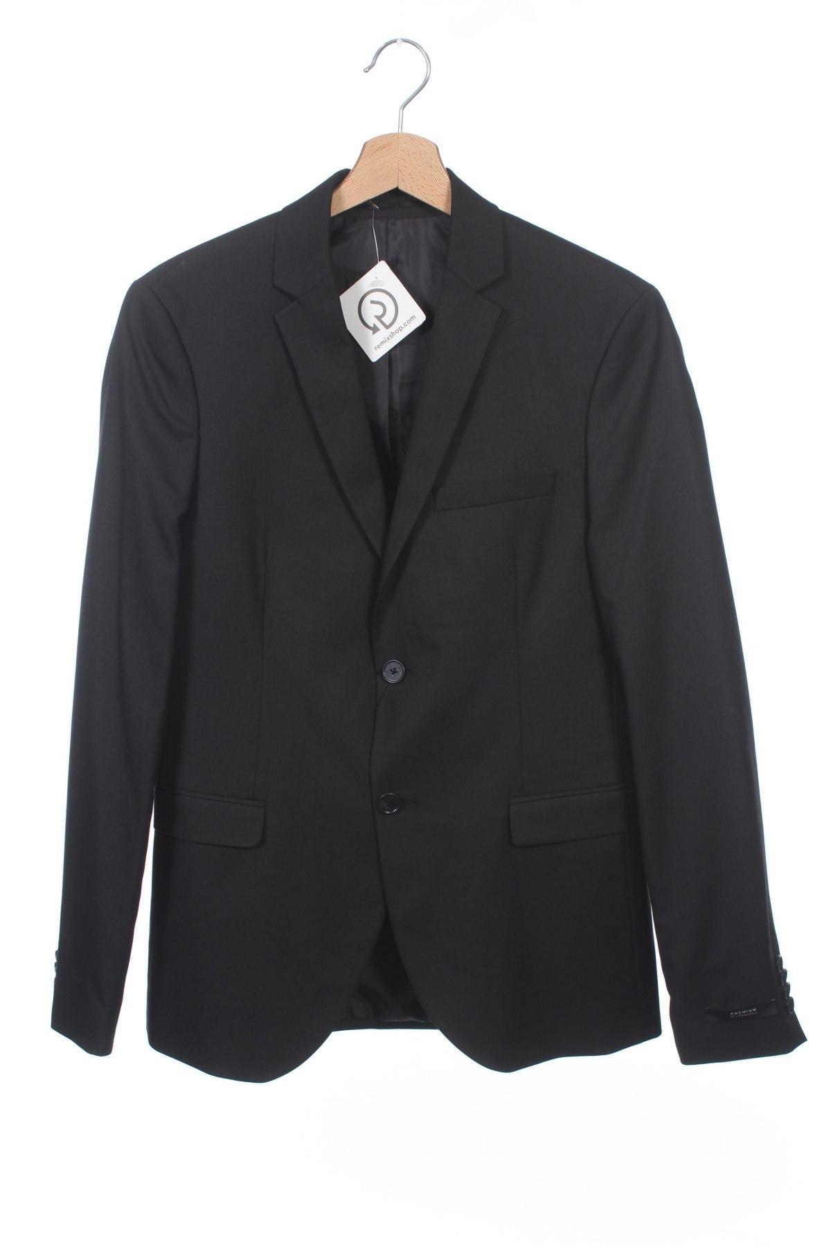 Мъжко сако Jack & Jones, Размер S, Цвят Черен, 56% полиестер, 41% вискоза, 3% еластан, Цена 96,20лв.