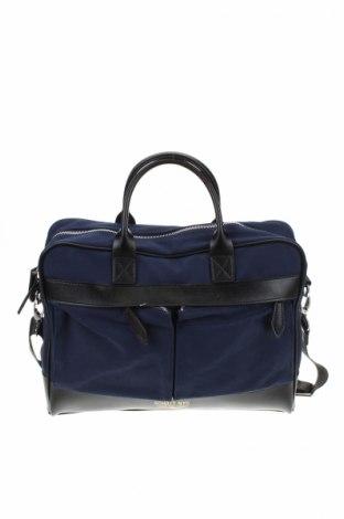 Geantă de laptop Schott, Culoare Albastru, Textil, Preț 227,42 Lei
