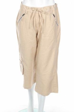 Дамски панталон Y.o.u, Размер M, Цвят Бежов, 55% лен, 45% памук, Цена 12,35лв.