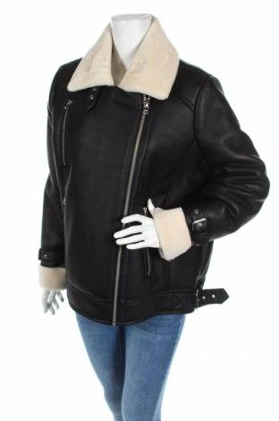 Дамско кожено яке Topshop, Размер L, Цвят Черен, Еко кожа, Цена 171,84лв.
