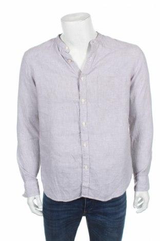 Мъжка риза Uniqlo, Размер M, Цвят Сив, Лен, Цена 18,90лв.