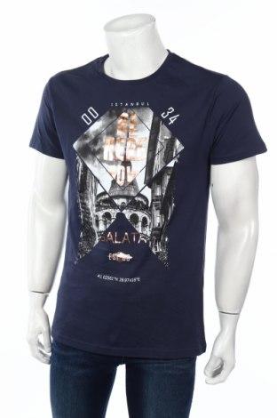Мъжка тениска Koton, Размер L, Цвят Син, Памук, Цена 17,85лв.