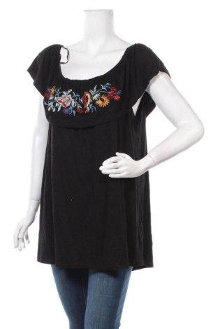 Дамска блуза Rockmans, Размер XXL, Цвят Черен, Вискоза, еластан, Цена 16,96лв.