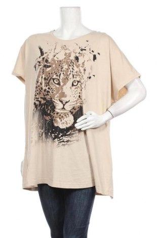 Γυναικεία μπλούζα Ulla Popken, Μέγεθος 4XL, Χρώμα  Μπέζ, Βαμβάκι, Τιμή 10,39€