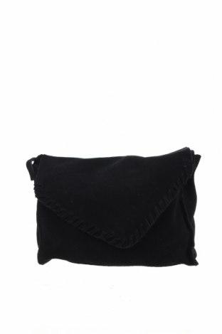 Дамска чанта Bershka, Цвят Черен, Естествен велур, Цена 44,25лв.