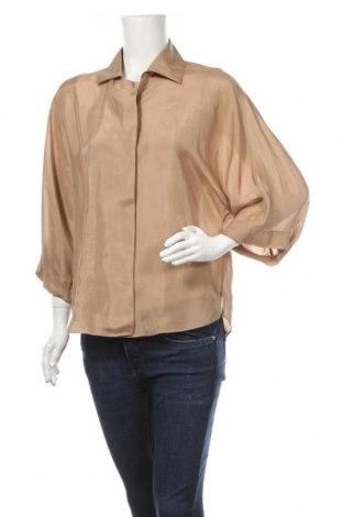 Дамска риза Massimo Dutti, Размер S, Цвят Кафяв, Коприна, Цена 63,00лв.