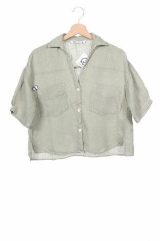 Дамска риза Zara, Размер XS, Цвят Зелен, 100% лен, Цена 20,25лв.