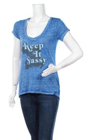 Дамска тениска, Размер L, Цвят Син, 52% памук, 48% полиестер, Цена 7,35лв.