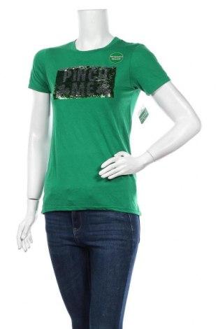 Дамска тениска, Размер XS, Цвят Зелен, 64% полиестер, 36% вискоза, Цена 20,48лв.