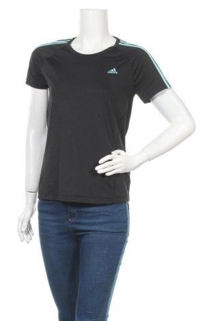 Дамска тениска Adidas, Размер M, Цвят Черен, 91% полиестер, 9% еластан, Цена 18,11лв.