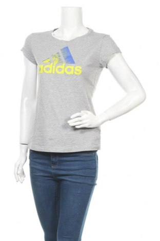 Γυναικείο t-shirt Adidas, Μέγεθος S, Χρώμα Γκρί, Βαμβάκι, Τιμή 13,58€