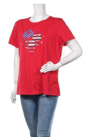 Дамска тениска Basic Editions, Размер XL, Цвят Червен, 60% памук, 40% полиестер, Цена 19,85лв.