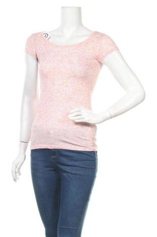 Дамска тениска Clockhouse, Размер XS, Цвят Червен, 88% полиестер, 7% лен, 5% еластан, Цена 11,76лв.
