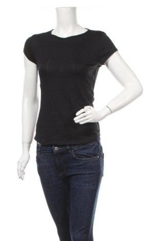 Дамска тениска Decathlon, Размер XS, Цвят Черен, 33% модал, 33% памук, 30% полиестер, 4% еластан, Цена 16,38лв.