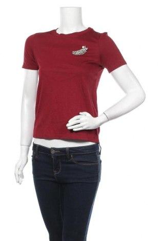 Дамска тениска H&M, Размер XS, Цвят Червен, 53% модал, 47% памук, Цена 15,17лв.