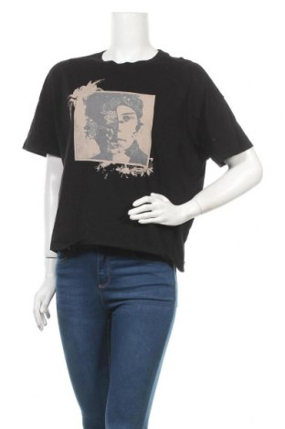 Дамска тениска H&M Divided, Размер M, Цвят Черен, Памук, Цена 13,44лв.