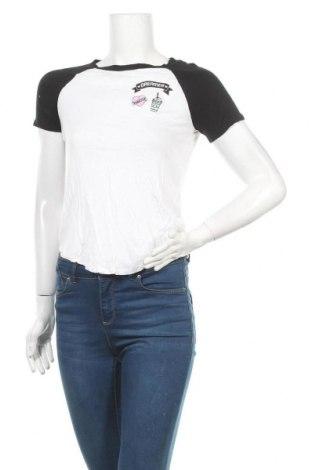 Дамска тениска H&M Divided, Размер XS, Цвят Бял, Вискоза, Цена 13,44лв.