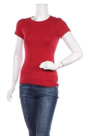 Дамска тениска H&M L.O.G.G., Размер S, Цвят Червен, 97% памук, 3% еластан, Цена 16,96лв.