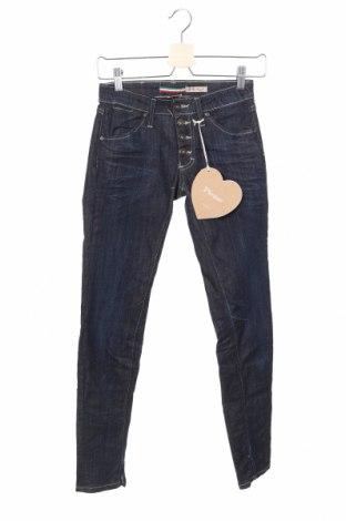 Дамски дънки Please, Размер XXS, Цвят Син, 75% памук, 23% полиестер, 2% еластан, Цена 23,85лв.