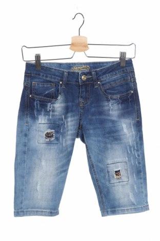 Дамски къс панталон Koroshi, Размер S, Цвят Син, 98% памук, 2% еластан, Цена 24,96лв.